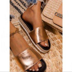 Shoes - RESTOCKED- Espadrille Slides in Rose Gold